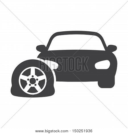 car punctured tire black simple icon on white background for web design