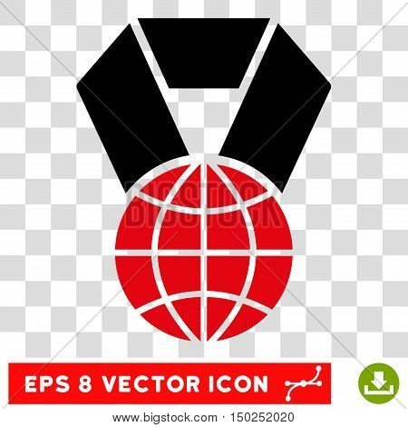 Vector World Award EPS vector pictograph. Illustration style is flat iconic bicolor intensive red and black symbol on a transparent background.