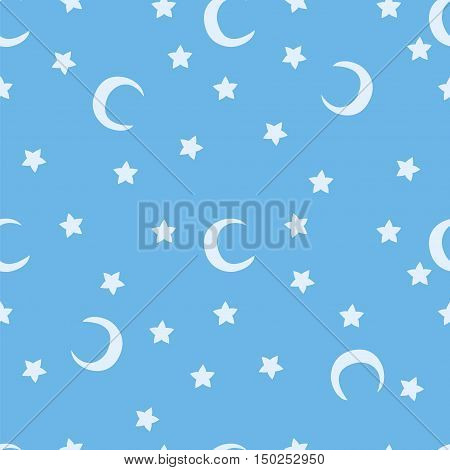 Blue moon and stars sky print seamless pattern. Moons and stars illustration on blue sky background.