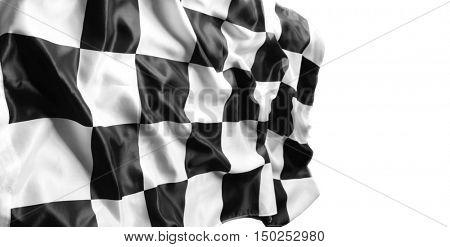Checkered black and white flag