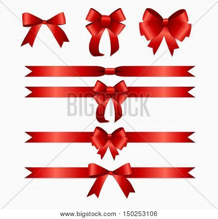 Red Ribbon and Bow Set for Birthday and Christmas Gift Box. Realistic Silk Ribbon Decoration. Vector Illustration EPS10