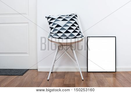Scandinavian home interior decoration, simple decor objects and art poster mock-up, minimalist white room
