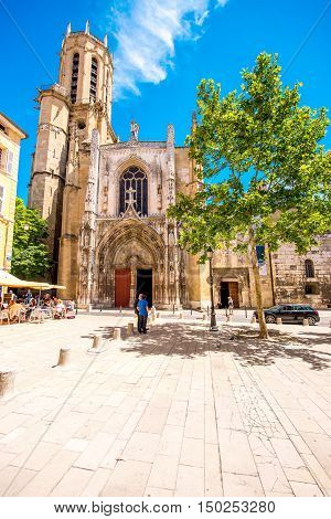 Aix-en-Provence, France - June 20, 2016: Saint Sauveur gothic cathedral in the old town of Aix-en-Provence city on the south of France.
