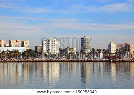 Long Beach Skyline, viewed from Queen Mary, Los Angeles, California, USA.