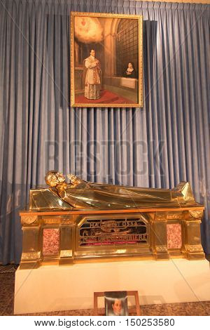 Paray Le Monial France - September 13 2016: Shrine of St. Claude de la Colombiere in Paray-le-Monial France reliquary with the relics of St. Claudius