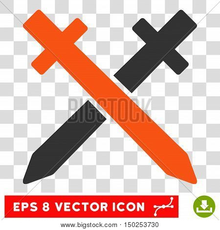 Vector Crossing Swords EPS vector pictogram. Illustration style is flat iconic bicolor orange and gray symbol on a transparent background.