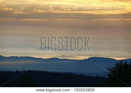 Image of the wooded hills in the morning sun and fog