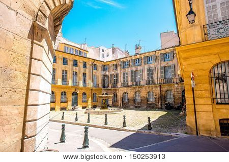 Albertas square with beautiful old fountain in Aix-en-Provence old town in France. French architecture in Provence