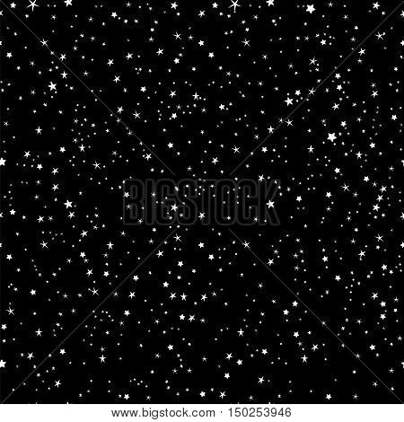 Space stars background, night sky and stars black and white seamless vector pattern. Stars on the night sky vector illustration.