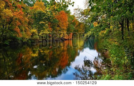 Autumn landscape of a calm river and the wooded shores with colorful foliage and reflection in water on a cloudy day.