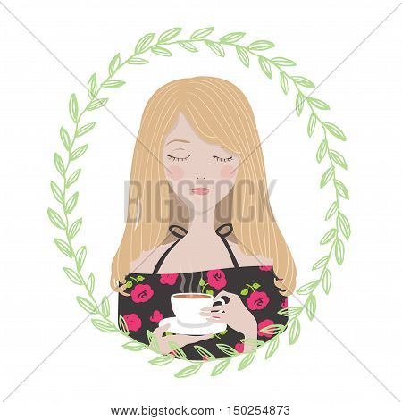 Female Character in oval round floral frame. Young woman girl in dress with roses enjoys her cup of tea. Avatar for blogger.