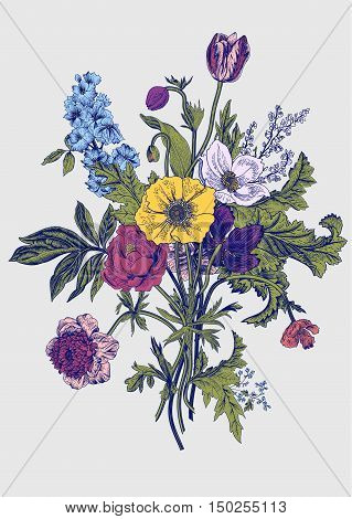 Victorian bouquet. Spring Flowers. Poppy anemones tulips delphinium. Vintage botanical illustration. Vector design element.