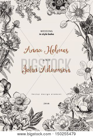 Wedding invitation. Spring Flowers. Poppy anemones peony. Vintage botanical illustration. Vector design element. Black and white