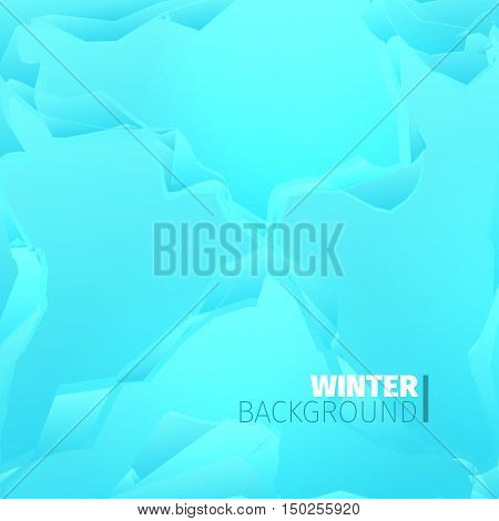 Abstract cyan winter backround with ice blockage