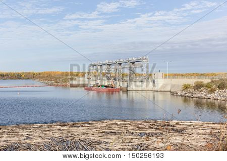 spillway structure under construction in saskatchewan canada