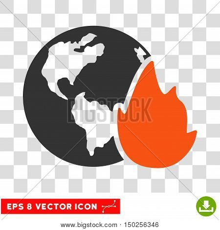 Vector Planet Flame EPS vector pictogram. Illustration style is flat iconic bicolor orange and gray symbol on a transparent background.