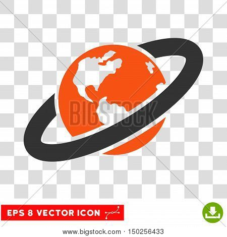 Vector Ringed Planet EPS vector pictograph. Illustration style is flat iconic bicolor orange and gray symbol on a transparent background.