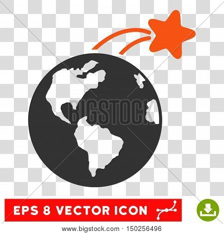 Vector Rising Satellite on Earth EPS vector pictograph. Illustration style is flat iconic bicolor orange and gray symbol on a transparent background.