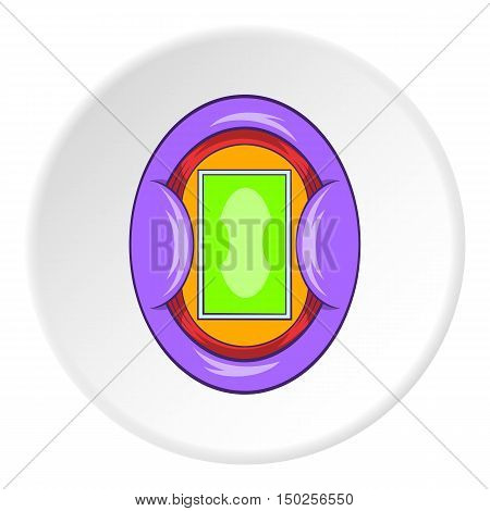 Oval football stadium icon in cartoon style isolated on white circle background. Sports facility symbol vector illustration