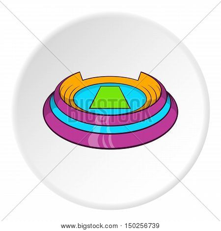 Round sports stadium icon in cartoon style isolated on white circle background. Sports facility symbol vector illustration