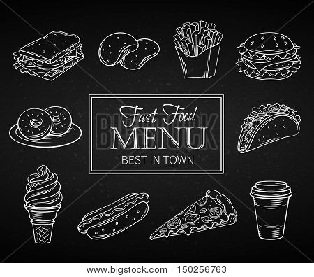 Set hand drawn icon fast food in chalk board style. Decorative Illustration with snacks, hamburger, fries, hot dog, tacos, coffee, sandwich, ice cream in line art style.