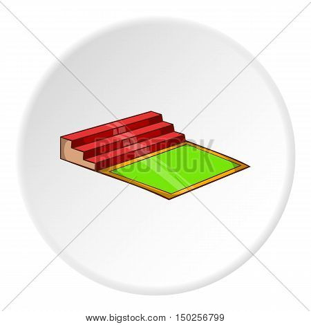 Small football stadium icon in cartoon style isolated on white circle background. Sports facility symbol vector illustration
