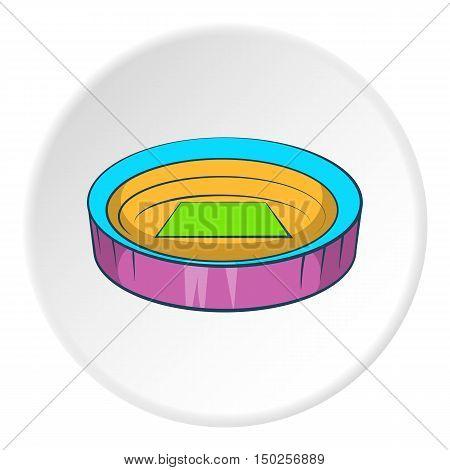 Large round stadium icon in cartoon style isolated on white circle background. Sports facility symbol vector illustration