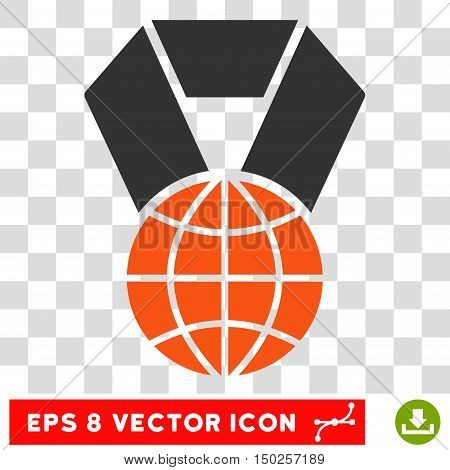 Vector World Award EPS vector pictograph. Illustration style is flat iconic bicolor orange and gray symbol on a transparent background.