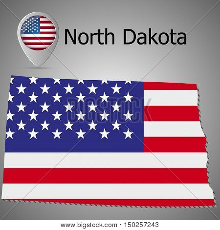 map of North Dakota on American flag. Map pointer with American flag. illustration.