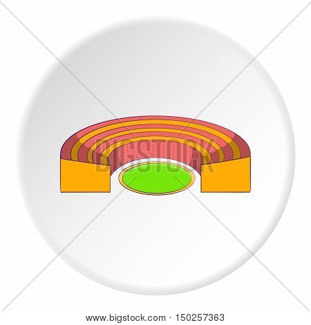 Semicircular stadium icon in cartoon style isolated on white circle background. Sports facility symbol vector illustration