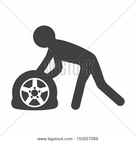 car punctured tire black simple icons set for web design