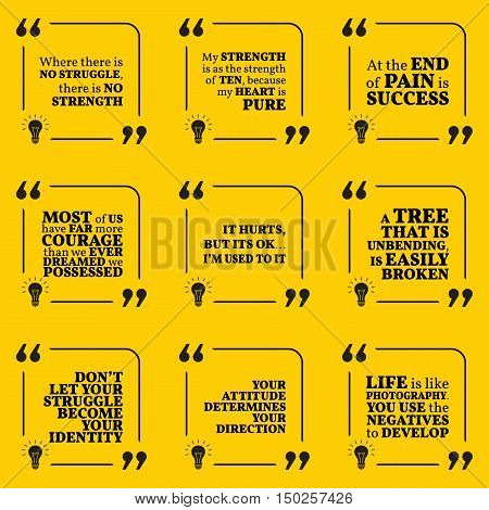 Set Of Motivational Quotes About Struggle, Strength, Courage, Pain, Identity, Achievement, Success,