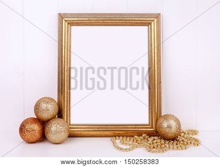 Christmas mockup styled stock photography with gold frame and gold glitter baubles space for your quote promotion headline or design great for blogging and social media