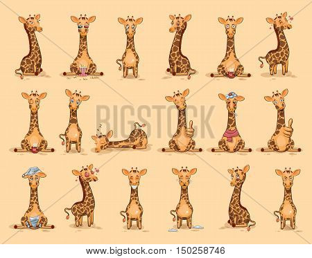 Set Vector Stock Illustrations isolated Emoji character cartoon Giraffe stickers emoticons with different emotions