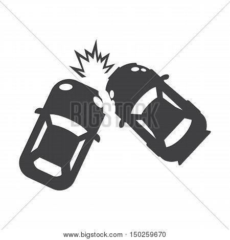 car crash black simple icons set for web design