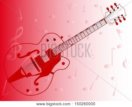A typical country and western guitar in outline over a musical notes red background