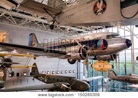 WASHINGTON D.C.,USA - AUGUST 12,2016 : Historic planes at the National Air and Space Museum in Washington D.C.