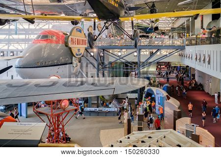WASHINGTON D.C.,USA - AUGUST 12,2016 : Historic planes and visitors at the National Air and Space Museum in Washington D.C.