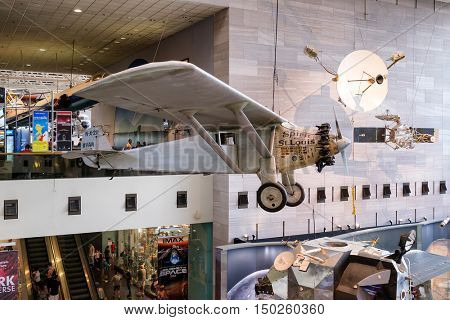 WASHINGTON D.C.,USA - AUGUST 12,2016 : The Spirit of St. Louis at the National Air and Space Museum in Washington D.C.
