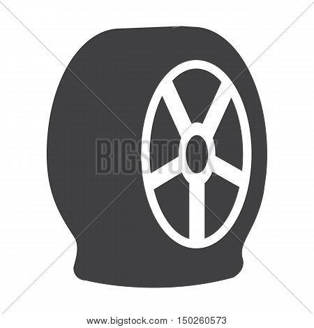 puncture wheel black simple icons set for web design