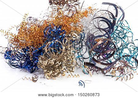 Colored Steel Shavings After Turning