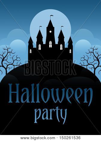 Halloween party flyer template. Castle on the moonscape background