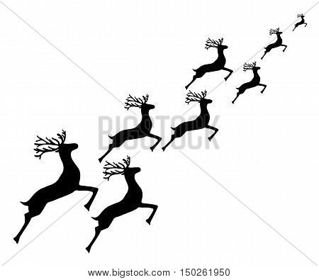 Reindeer running on a white background, vector illustration