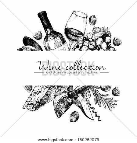 Vector hand drawn template illustration of wine and appetizers. Bottle glass corcksrew cheese fruits ans cpices. Vintage engraved style art. For restaurant menu shop market sale.