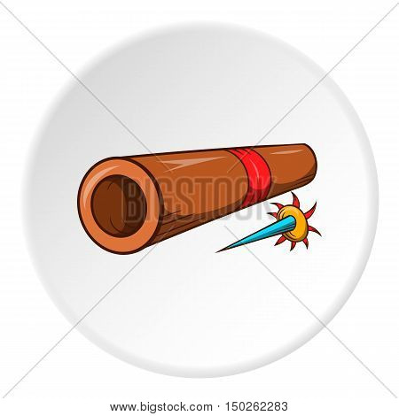 Brass tube with darts icon in cartoon style isolated on white circle background. Weapon symbol vector illustration