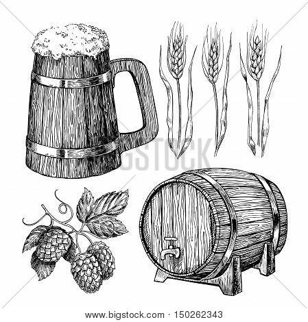 Beer vector set. Alcohol beverage hand drawn illustration.Craft Beer in wooden mug, barrel, hop, wheat grain. Great for bar, pub, menu, oktoberfest
