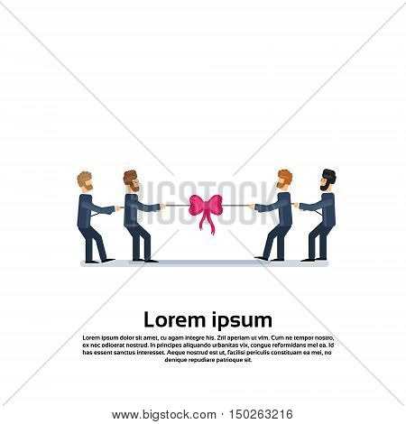 Business People Group in Two Teams. Tug Of War Competition Concept Flat Vector Illustration
