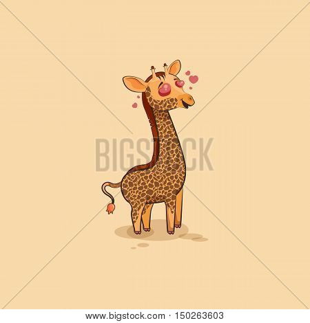 Vector Stock Illustration isolated Emoji character cartoon Giraffe in love flying with hearts