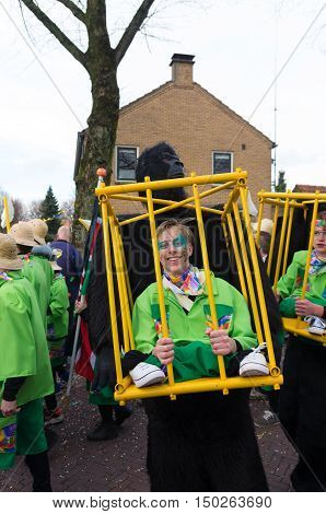 OLDENZAAL NETHERLANDS - FEBRUARY 7 2016: Unknown person in funny carnival outfit during the annual carnival parade
