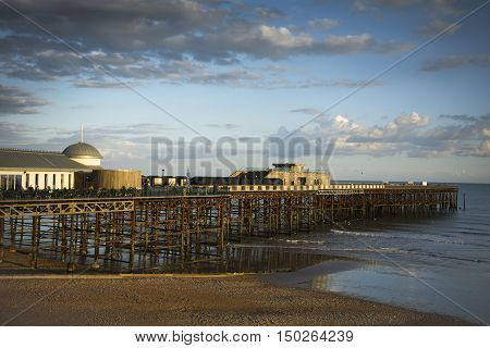 The new Hastings pier in evening sunlight